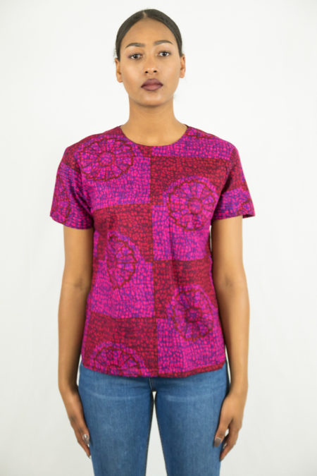 T-shirt crop top en pagne ihaa